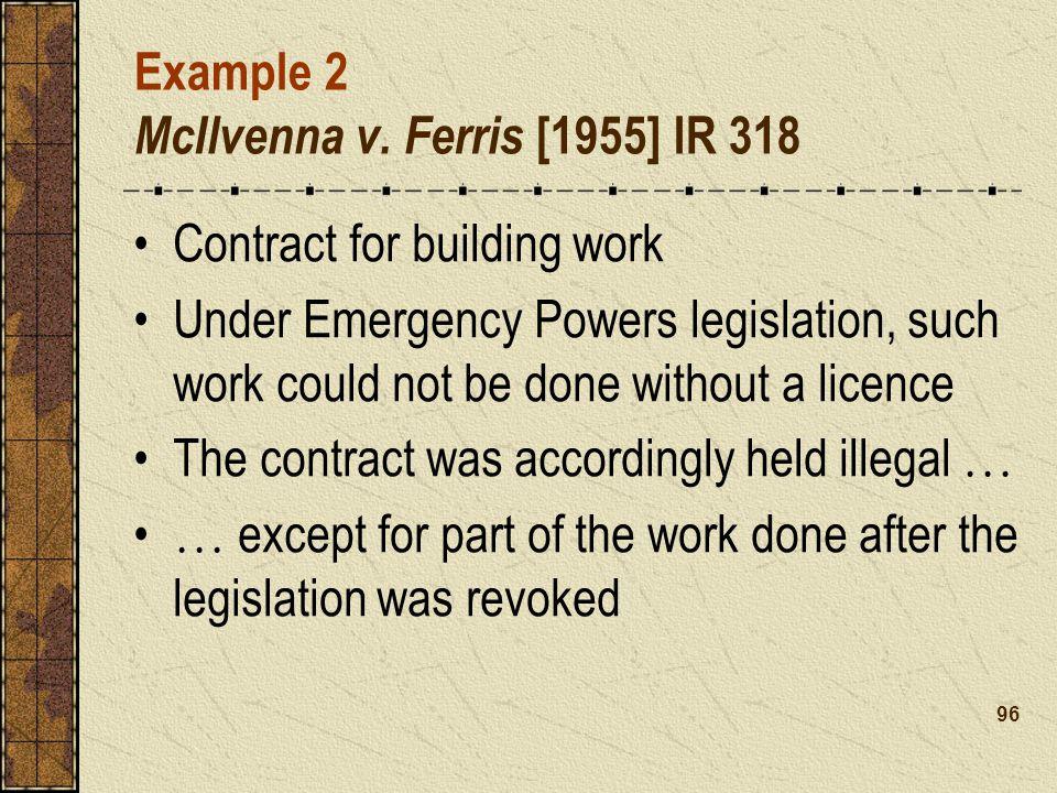 Example 2 McIlvenna v. Ferris [1955] IR 318